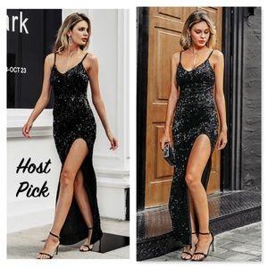Black Sequined V-Neck High Slit Long Dress